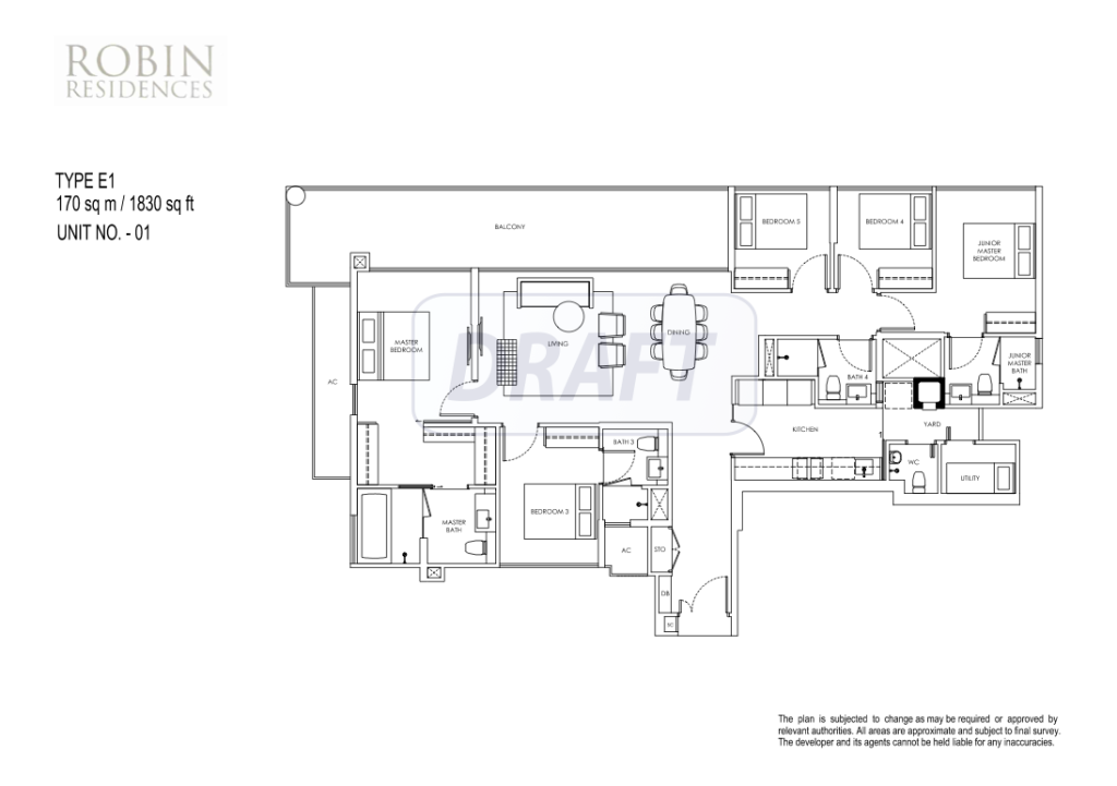 robin-residences-floor-plan robin residences Robin Residences | Hotline +65 61007122 | 1km to Nanyang, SCGS, ACS 5 bedroom floor plan
