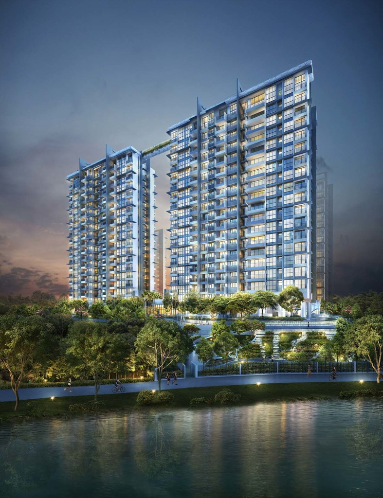 Riverbank-@-Fernvale Facade riverbank Riverbank | Showflat Hotline +65 97555202 RB Hero Night