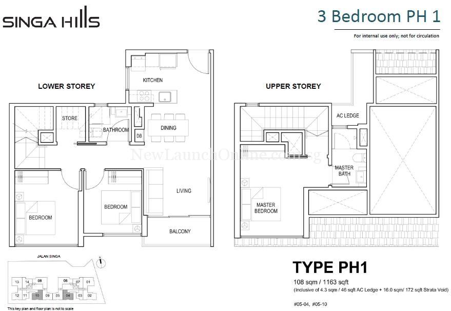 Singa-HillsBedroom-Penthouse-Floor-Plan singahills SingaHills @ Jalan Singa | Singapore Singa Hills Type PH1 3 Bedroom Penthouse Floor Plan