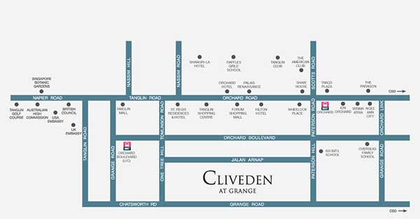 Location-Map cliveden Cliveden @ Grange | Showflat Hotline 61007122 Clivieden   Grange Location Map