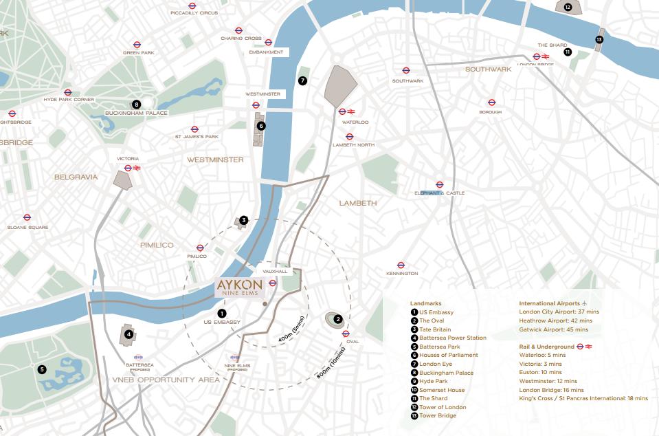 Aykon Nine Elms Location Map aykon nine elms AYKON Nine Elms| Showflat Hotline +65 97555202 | Prime London Property Location Map2