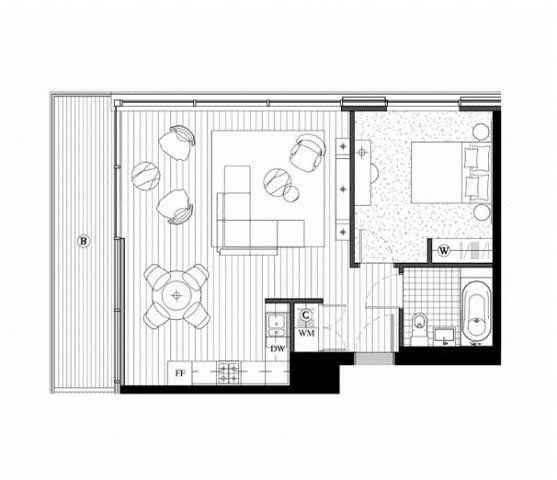 Royal Wharf Phase 2, 1 Bedroom Floor Plan