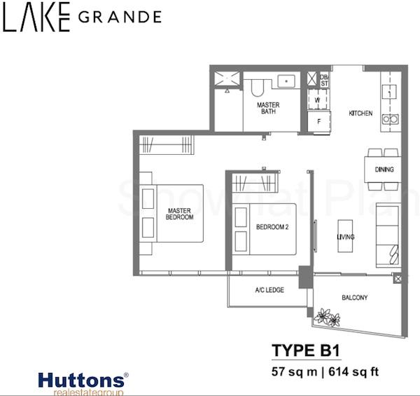 Lake Grande Floor Plan 1 bedroom