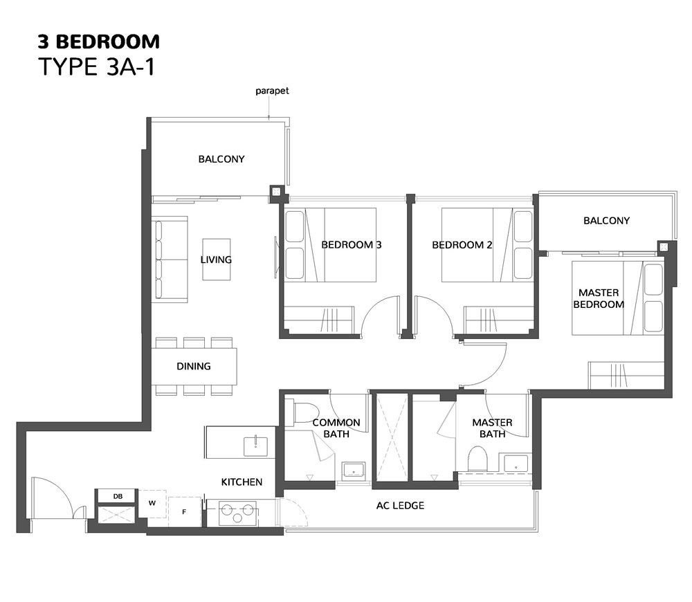 The Wisteria 3 Bedroom Floor Plan the wisteria The Wisteria | Showflat Hotline +65 6100 7122 | Mix Development The Wisteria 3 Bedroom Floor Plan