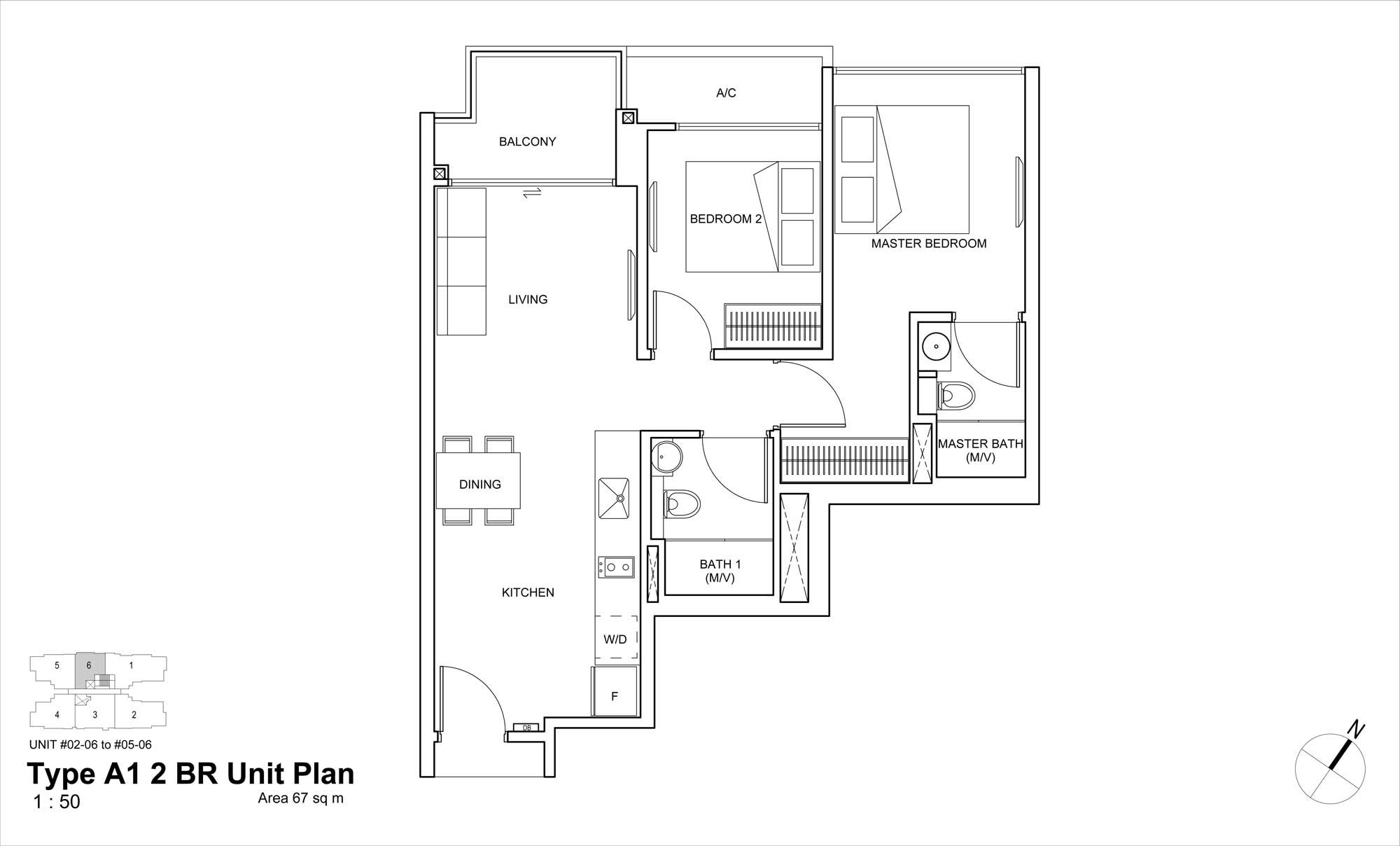 Straits mansions condo 2 bedrooms floor plans a1 for Condo floor plans 2 bedroom
