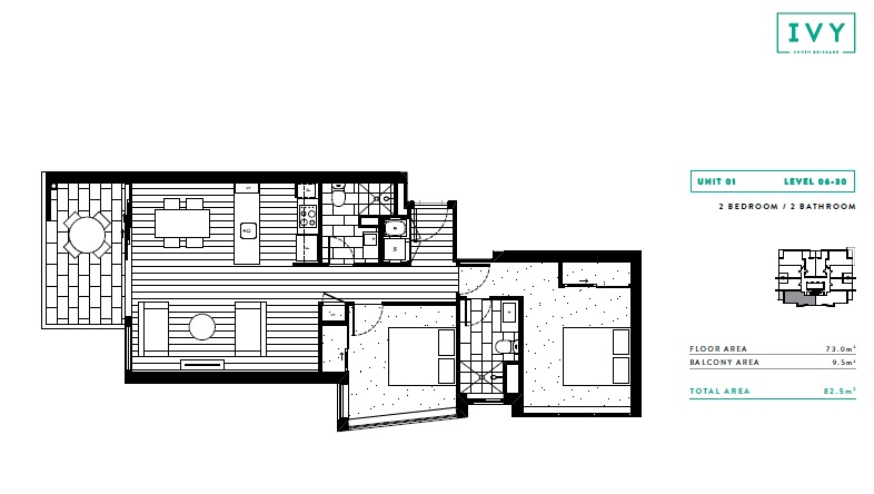 Ivy and Eve floor plan 2 bed