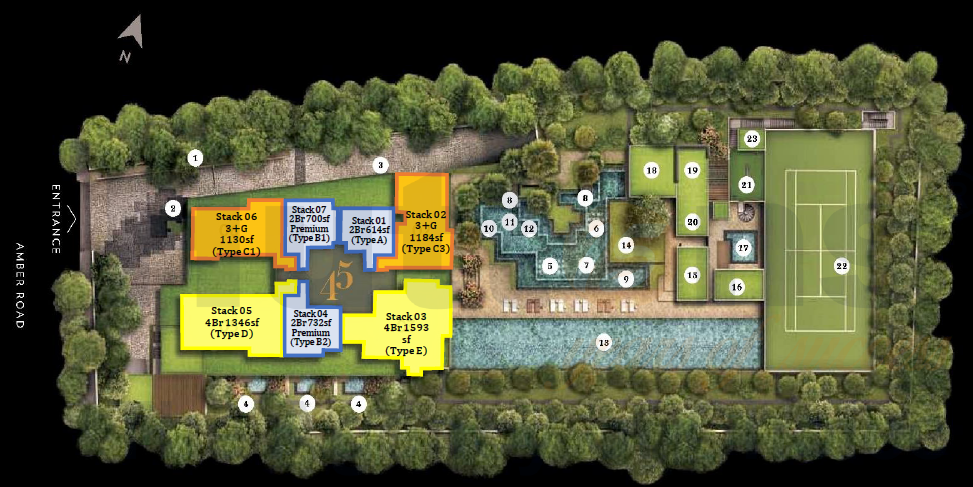 Amber 45 site plan with sizes