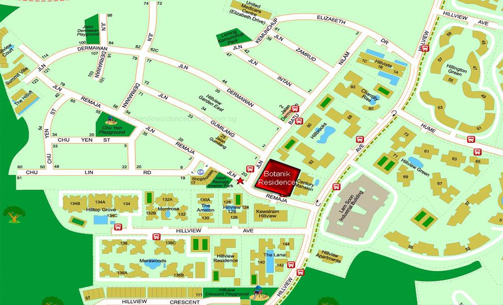Botanik Residence Location Map at Hillvew Avenue 1 Jalan Remaja