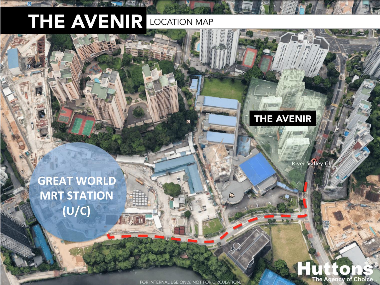 the avenir location map